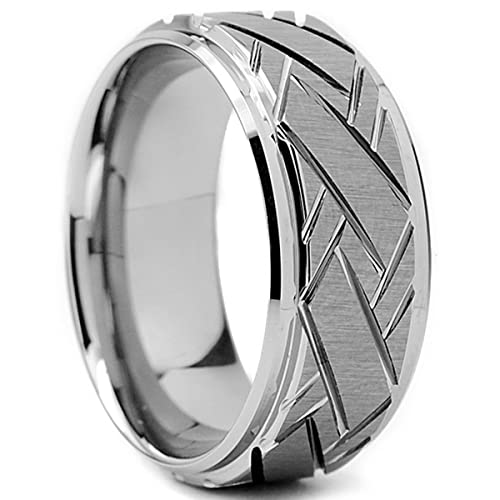 d41b2ddb55fca Tungsten Carbide Men's Weave Grooved Pattern Wedding Ring Band, 9mm Sizes 8  to 13