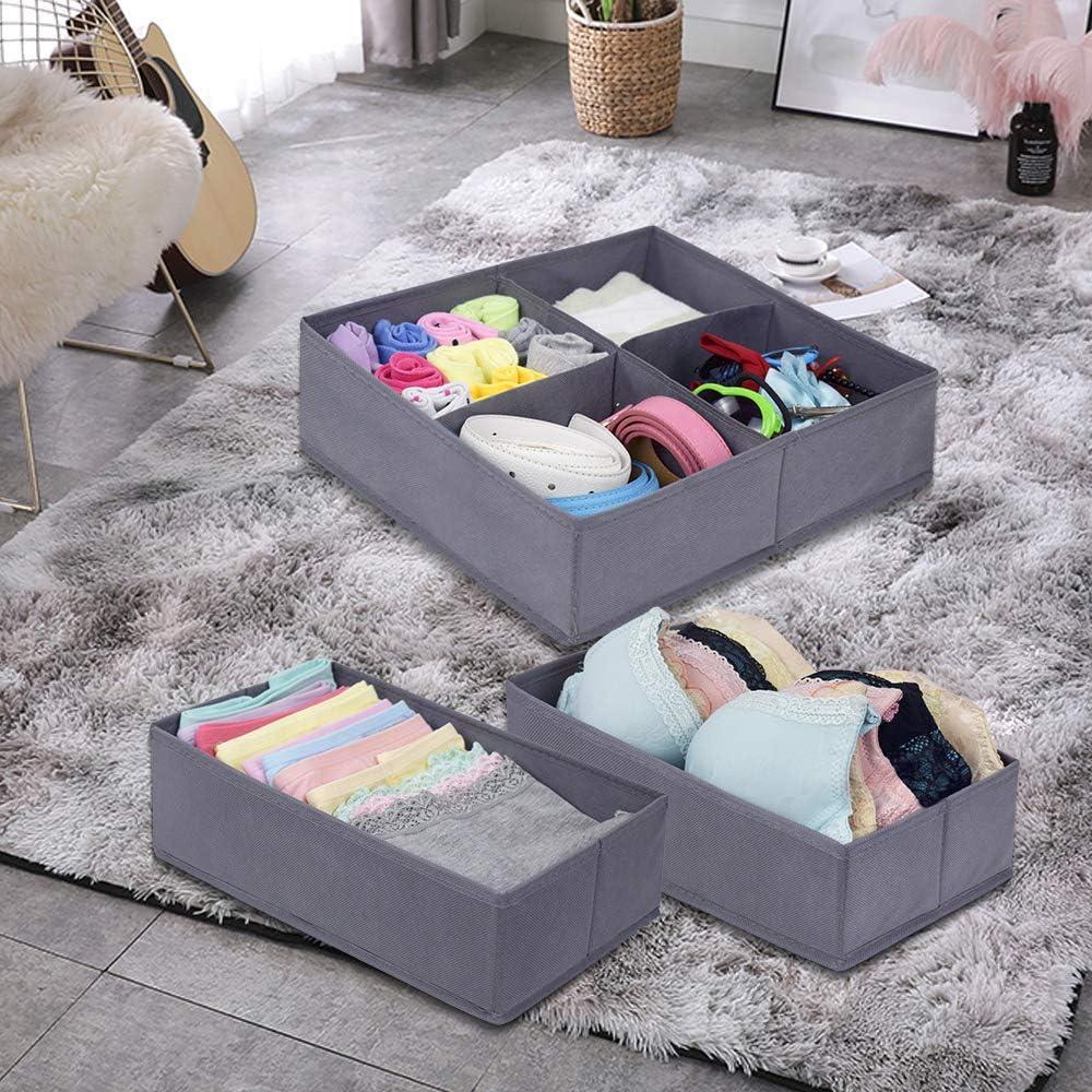 Bedroom Set of 4 Gray Homyfort Dresser Organizer Drawer Divides,Fabric Closet Bins Storage for Child//Kids Room Playroom Nursery