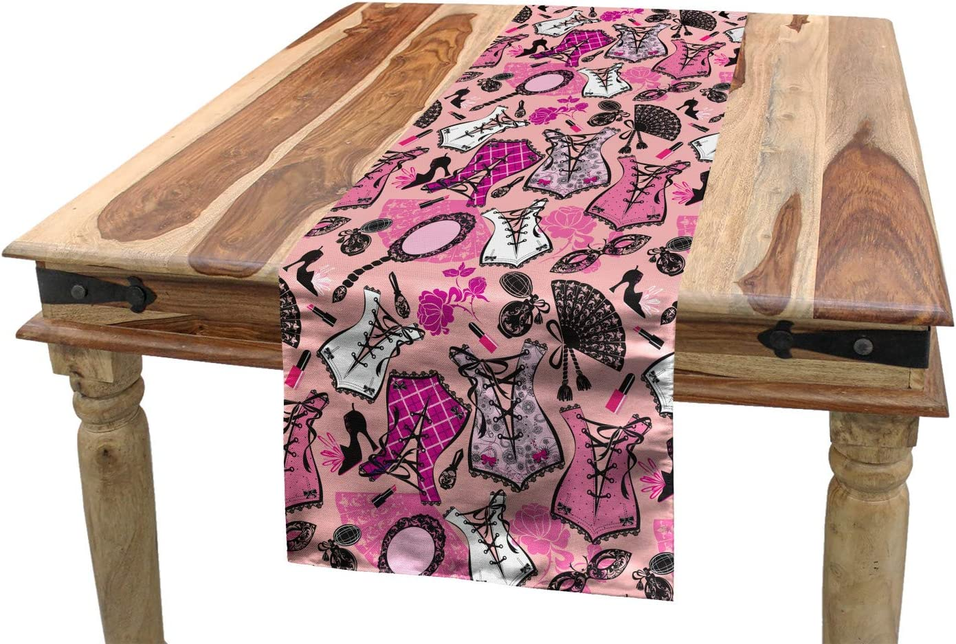 Lunarable Fashion Table Runner Vintage Female Accessories Corset Perfume Bottles Shoes Lipstick Mirror Roses Dining Room Kitchen Rectangular Runner 16 X 72 Black And Pink Home Kitchen