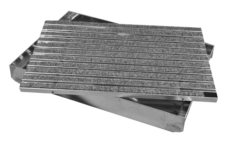 Gr/ö/ße:600 x 400 mm ACO Schuhabstreifer Rips grau mit Emco ALU Bodenwanne Fu/ßmatte Fu/ßabtreter T/ürmatte Schmutzfangmatte