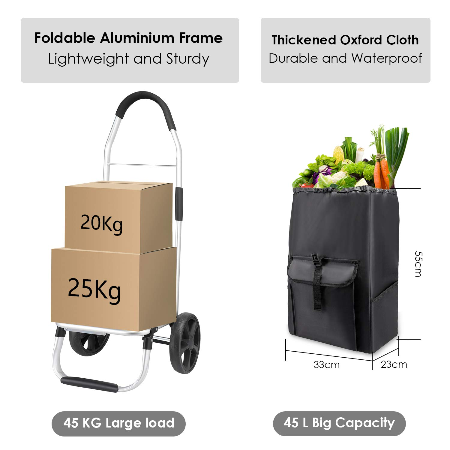 45L Push//Pull Max Capacity 45 kg Folding Shopping Cart on Wheels Large and Lightweight Shopping Trolley with Detachable Bag MFAVOUR Shopping Trolley