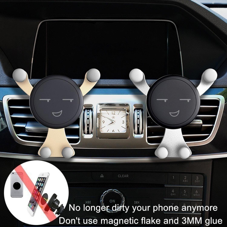 Drivero New Car Mobile Phone Stand Gravity Stand Mini Cute Cartoon Phone Holder Brackets Car Smiley Phone Holder Gravity Bracket,Golden