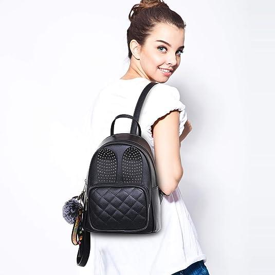 95f4c2a051 Amazon.com  Girls Rabbit Ear Cute Mini Leather Backpack