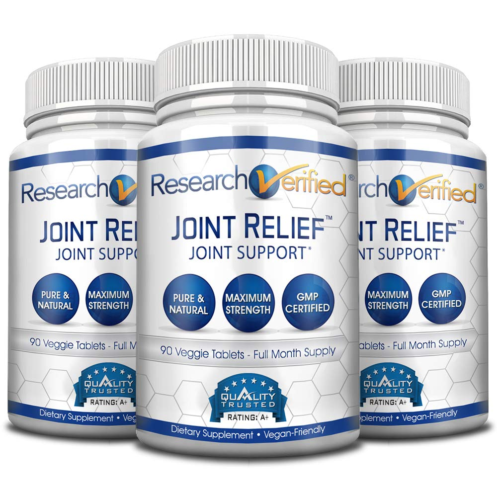 Research Verified Joint Relief - 100% Natural Glucosamine, MSM and Turmeric, Boswellia + Vitamins for Pain Relief and Joint Support - 3 Bottles (3 Months Supply) by Research Verified