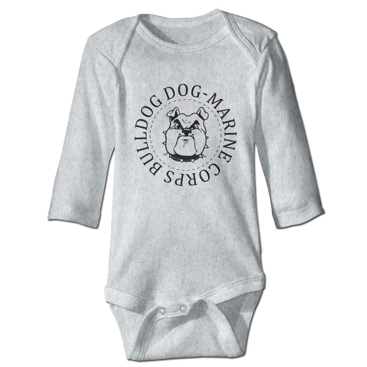 Dfenere Bulldog Dog-Marine Corps Fashion Newborn Baby Long Sleeve Bodysuit Romper Infant Summer Clothing