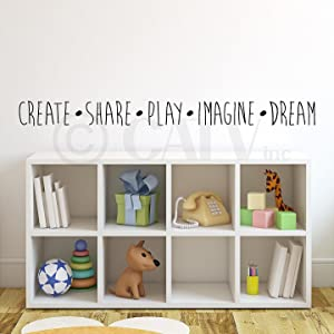 "Create Share Play Imagine Dream Vinyl Lettering Wall Decal Sticker (4""H x 47""L, Black)"