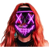 Sago Brothers Scary Halloween Mask, LED Light up Mask Cosplay, Glowing in The Dark Mask Costume 3 Lighting Modes, Halloween Face Masks for Men Women Kids - Purple