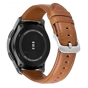 MroTech Correa de Reloj de Cuero Genuino Piel 22mm Pulseras de Repuesto Compatible para Samsung Gear S3 Frontier/ S3 Classic/Galaxy Watch 46mm/ ...