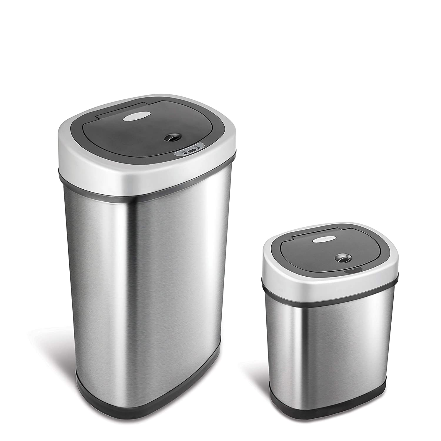 NINESTARS CB-DZT-40-8/12-18 Automatic Touchless Infrared Motion Sensor Trash Can Combo Set, 11 Gal 40L & 3 Gal 12L, Stainless Steel Base (Round, Black & Ladybug Lid) Fuzhou NaShiDa Electronic Co.