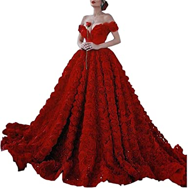bd7da4accce Dimei 2018 Red Off Shoulder Long Prom Dress with Rose Floral Ruffles A Line Puffy  Quinceanera Dresses Train V-Neck Ball Gown at Amazon Women s Clothing ...
