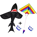 ZHONGRAN Kite for Kids and Adults,including 3D Shark Kite and Rainbow Kite, Easy to Fly and Assemble,Perfect Flying Toys for Children for Outdoor Games Activity, Easy for Beginners - 2 Pack