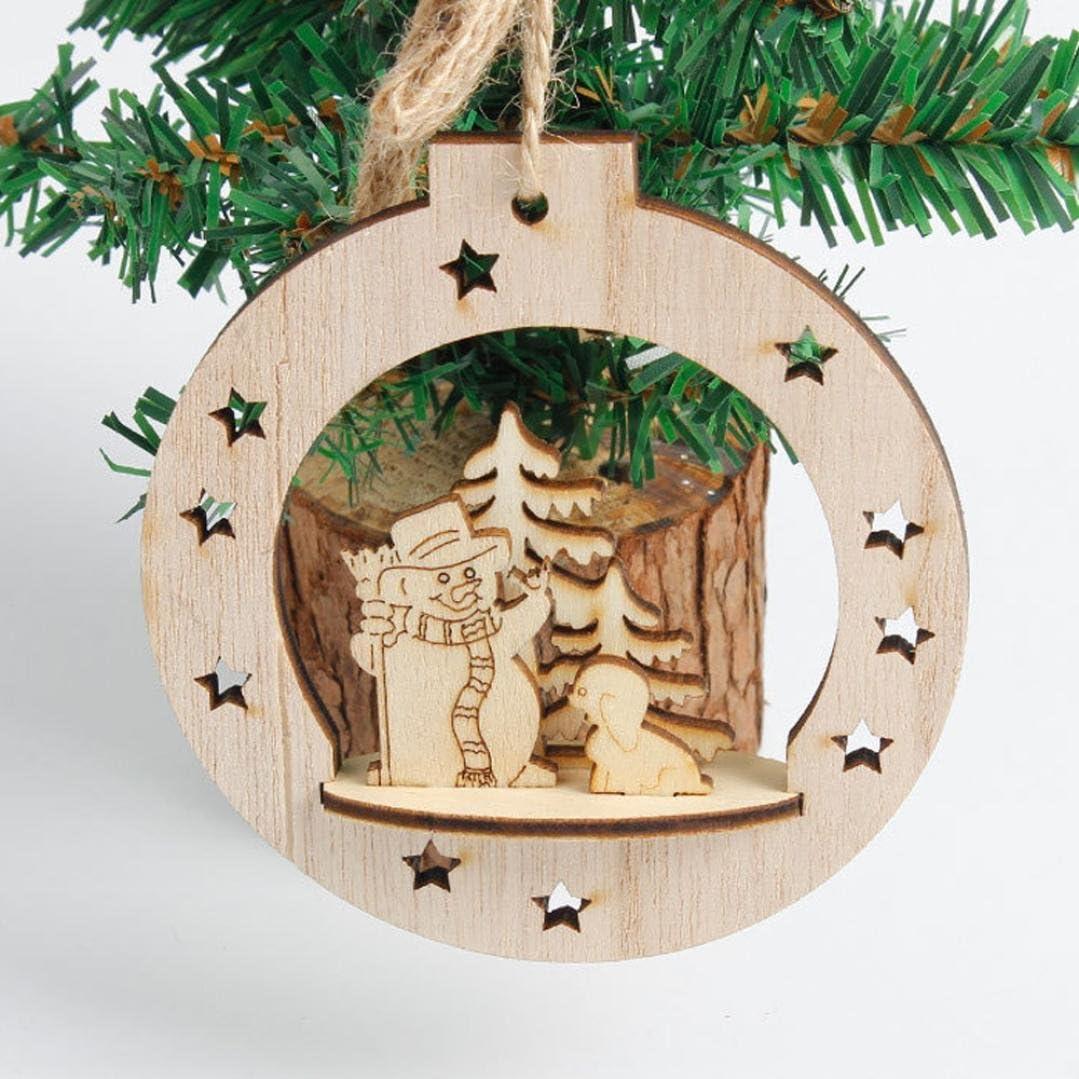 Natale Ciondolo di Legno Decorazione,Kword Legno Fiocco di Neve A Forma di Albero di Natale Appeso Ornamenti Decorazioni Rustico 3 PZ