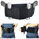 Versatile Belly Band Holster Concealed Carry with Magazine Pocket/Pouch & 2 Elastic Straps for Women Men Fits Glock, Ruger LCP, M&P Shield, Sig Sauer, Ruger, Kahr, Beretta, 1911, etc
