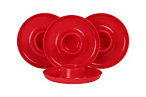 GreatPlate GP-RED-4PK AZ Red Plate 4-Pack, 4 Red GreatPlates, Food Tray and Beverage Holder, Dishwasher Safe, Microwave Safe, Made in USA, Picnics, Parties, Tailgates, Appetizers, Great for Kids