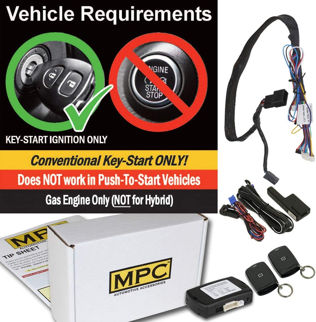 Firmware Preloaded MPC Complete Plug /& Play 1-Button Remote Start Kit for 2007-2018 Jeep Wrangler with Key-to-Start