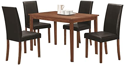 Amazon Com Coaster 5 Piece Dining Set In Natural Walnut Table