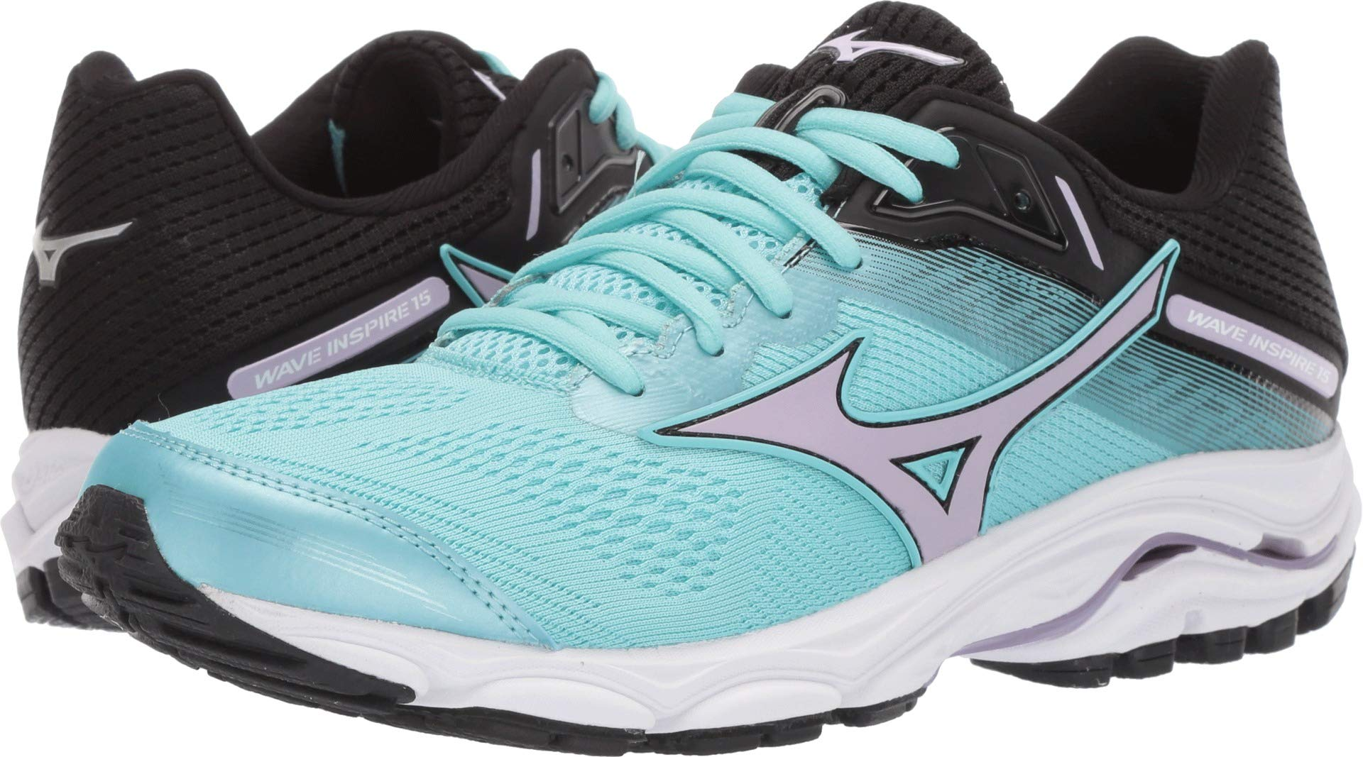 Mizuno Women's Wave Inspire 15 Running Shoe, Angel Blue-Lavender Frost 9 B US by Mizuno