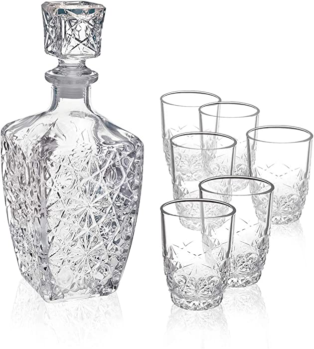 Bormioli Rocco Dedalo Whiskey Gift Set – Sophisticated 26.25oz Diamond Decanter & 6 Etched 8.75oz Whiskey Glasses With Sparkling Star-Cut Detailing – For Whiskey, Bourbon, Scotch & Liquor