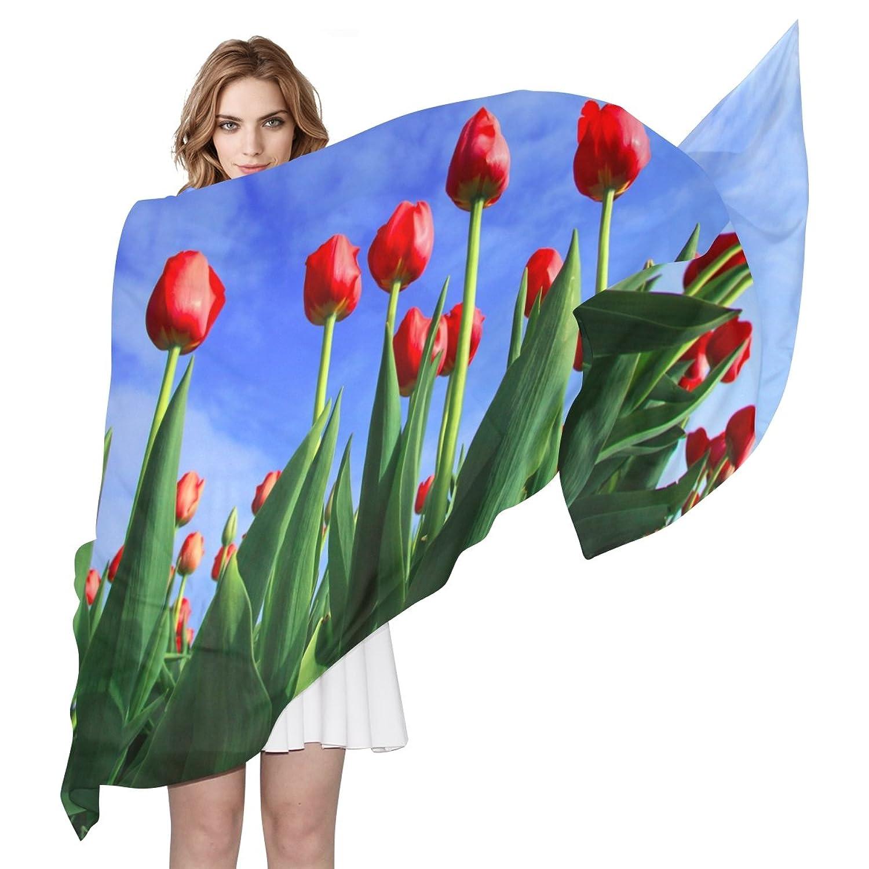 WDYSECRET Tulips Silk Printing Scarves for Women 70.86x35.4(in)