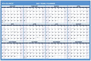"""2021 Erasable Calendar, Dry Erase Wall Planner by AT-A-GLANCE, 48"""" x 32"""", Jumbo, Vertical/Horizontal, Reversible (PM3262821)"""
