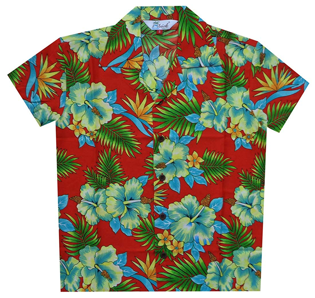 Hawaiian Shirts Boys Allover Flower Beach Aloha Party Camp Holiday Casual