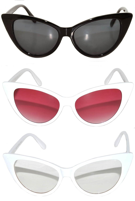 Stylish Fashion Vintage Cat Eye Sunglasses UV Protection 3 Pairs