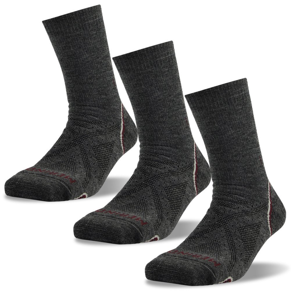 Skiing Socks, ZEALWOOD Merino Wool Hiking Socks Women 3 Pack, Cushion Crew Socks Valentines Day Gift Winter Travel Trail Socks Mid Calf Merino Wool Backpacking Socks,Dark Grey,Small