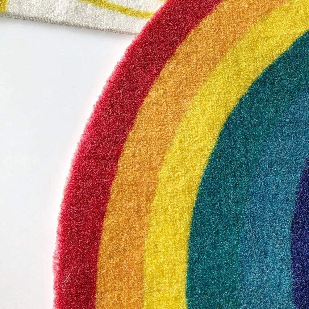 Cute Rainbow Cotton Kids Nursery Door Mat Area Rugs Luxury Kids Game Play Carpet Door Bath Rugs Baby Shower