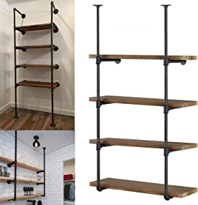 Industrial Wall Mount Iron Pipe Shelving, Rustic Farmhouse Floating Shelf Brackets Black for DIY Open Shelves Bookshelf Bookcase Storage Office Room Kitchen (2 Pcs 4 Tier, Planks no Included)