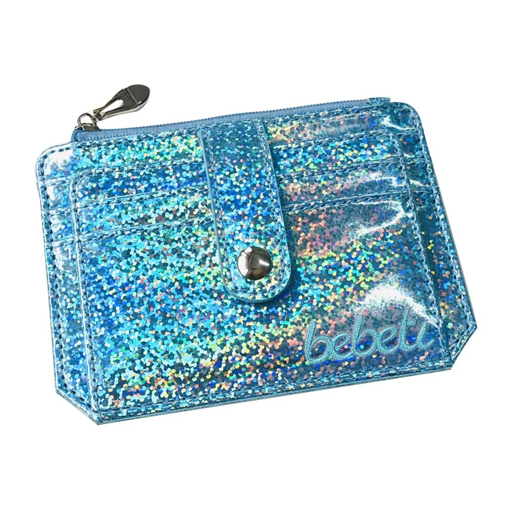 60dccc9d349 Amazon.com : Credit Card Holder for Women Glitter Holographic Waterproof Wallet  Small Purse Zipper Credit Card Holder Security Wallet (Silver) : Grocery ...