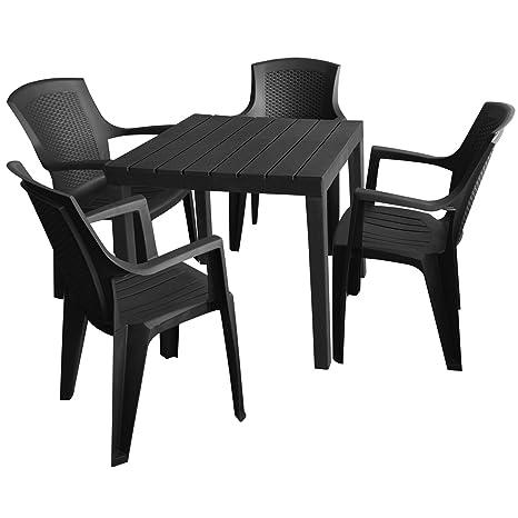 Set di mobili da giardino tavolo da giardino in plastica, antracite ...