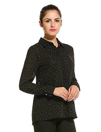 61098709424a74 Meaneor Damen Bluse Hemdbluse Chiffon Tupfen Langarm mit Hemddkragen und Knopfleiste  Schwarz S