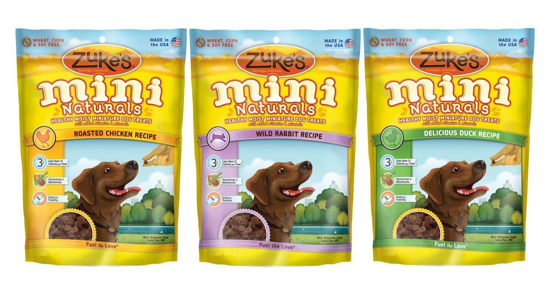 Zuke's Mini Naturals Healthy Moist Dog Training Treats 3 Flavor Variety Bundle 6 Oz. Ea