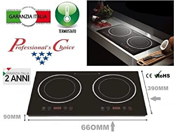 Placa inducción 3600 W doble 2 zonas hobs Hornillo integrado ...