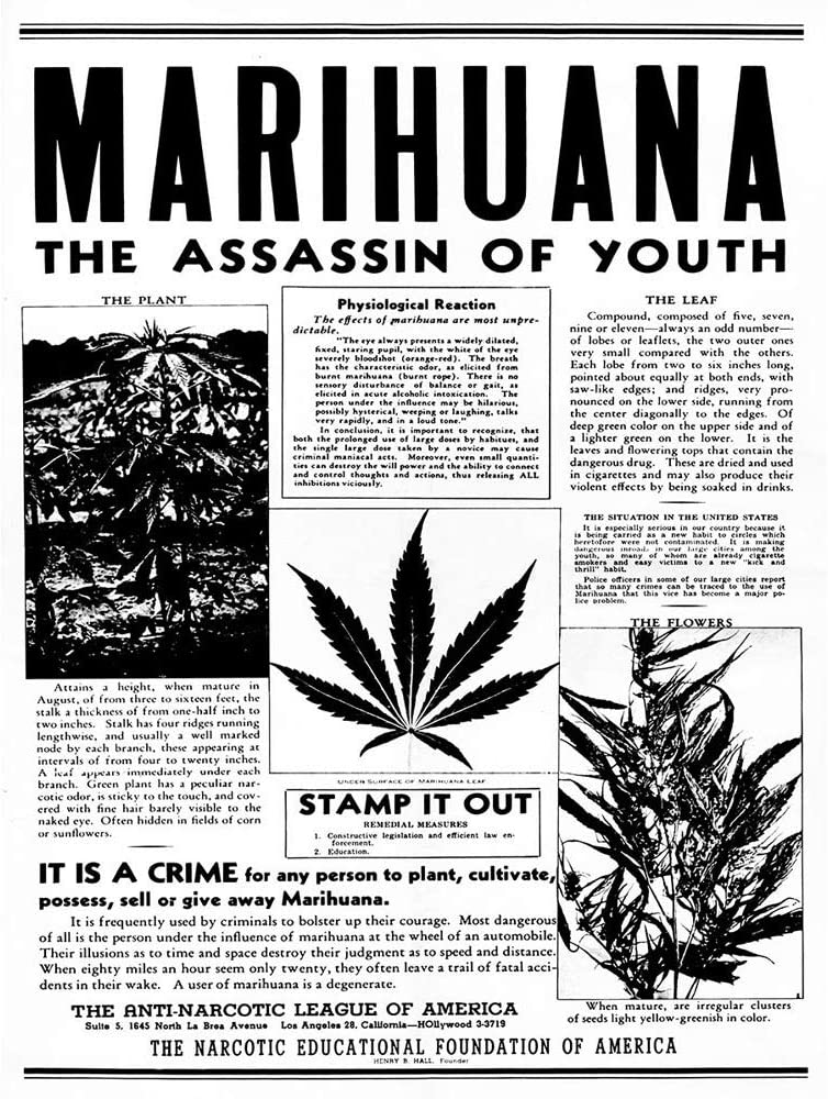Advertising Drug Awareness Warning Marijuana Weed Cannabis Panic USA Unframed Wall Art Print Poster Home Decor Premium