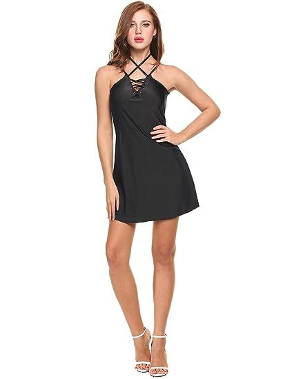 Women Casual Sleeveless Lace Up Mini Dress Sexy Evening Strap