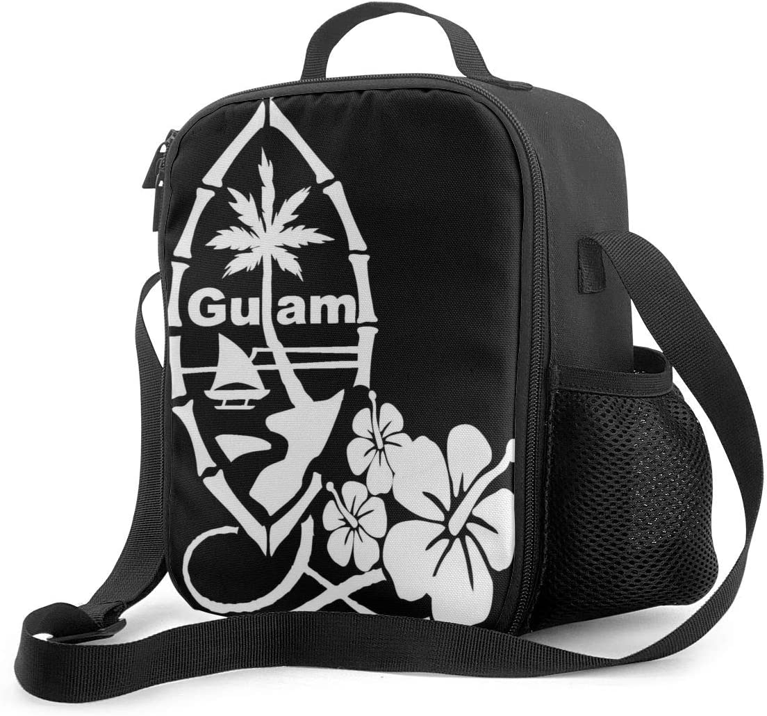 Guam Flower Hibiscus Decal School Portable Insulated Lunch Bag Supernatural Oxford Cloth Lunch Bag Food Container Cooler Warm Pouch Pouch Adjustable Strap For School Work Office Travel Fishing.