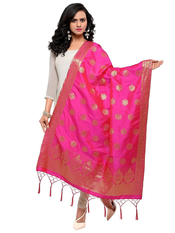 Kanchnar Women's Pink Poly Silk Banarasi Dupatta (6FD481)