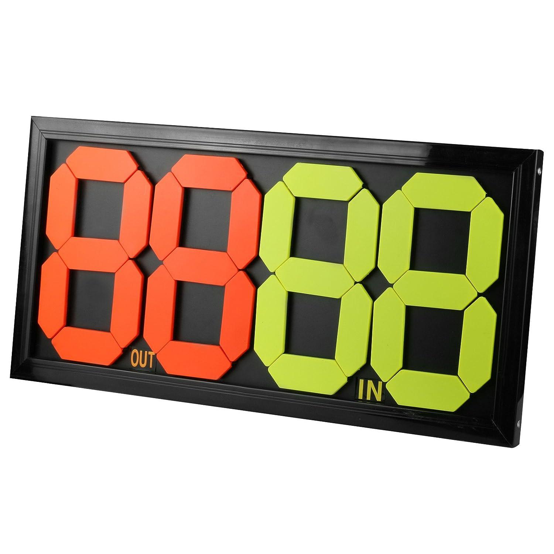 Tablero de sustitución de fútbol manual portátil 24,4 pulgadas × 11,8 pulgadas Pantalla de doble cara OUT & IN, 4 dígitos QPKUNG