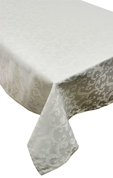 Christmas Tablescape Decor - Beautiful classic floral damask champagne cream tablecloth