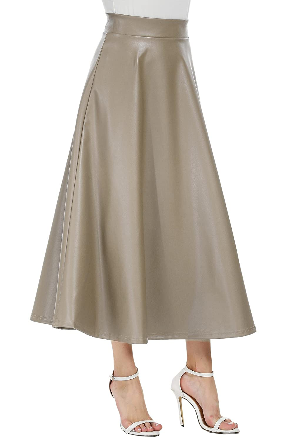 927719d4b ELESOL Women's Pleated High Waist Faux Leather Skirts Swing A-Line Maxi Skirt  at Amazon Women's Clothing store: