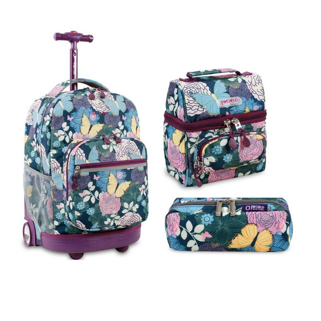 J World New York Sunrise Rolling Backpack Back To School Set w/ Pencil Case & Lunch Bag (Secret Garden)