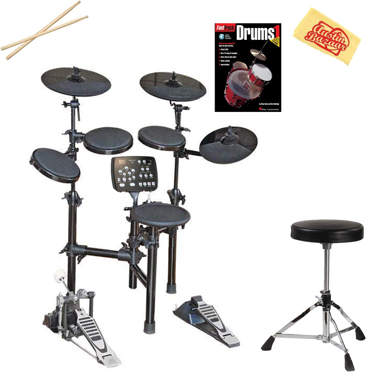 and Austin Bazaar Polishing Cloth Vault HD005 8-Piece Electronic Drum Kit Bundle with Throne Instructional Book Sticks