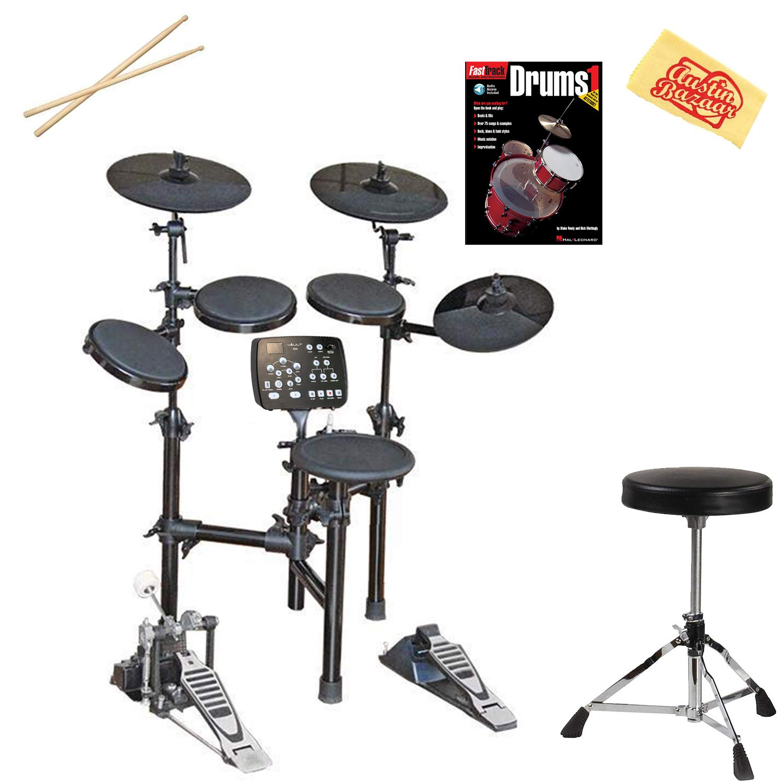 Vault HD005 8-Piece Electronic Drum Kit Bundle with Throne, Sticks, Instructional Book, and Austin Bazaar Polishing Cloth