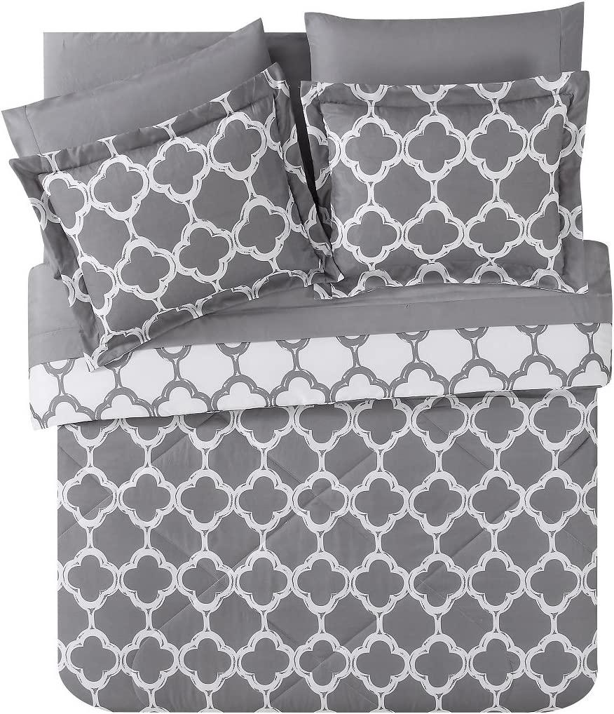 VCNY Home Galaxy Reversible 8 Piece Bed-In-A-Bag Comforter Set, Queen, Grey/White