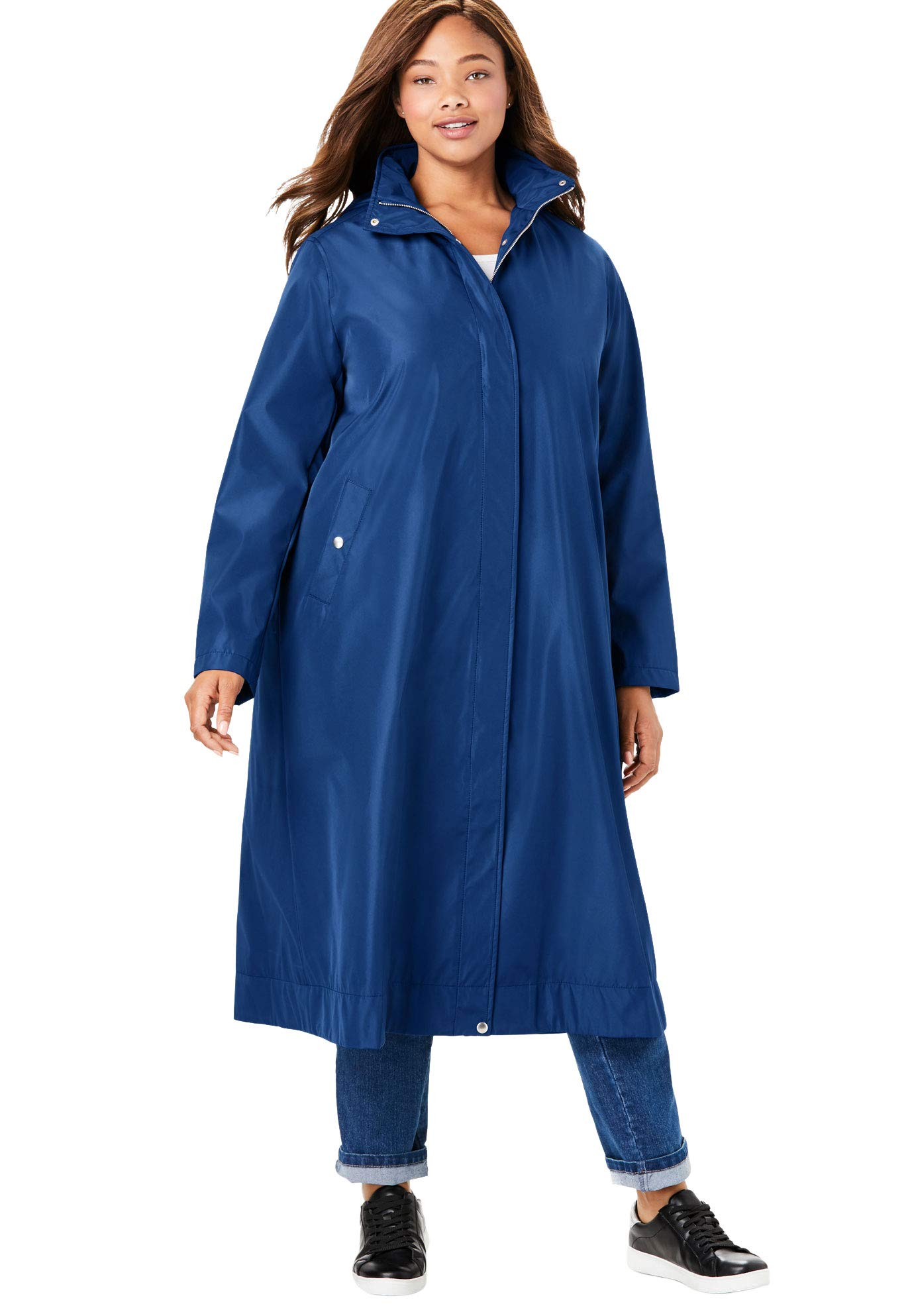 Woman Within Women's Plus Size Water Repellent Long Raincoat - Evening Blue, 18 W by Woman Within