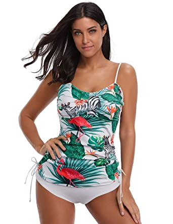 GRACE KARIN Women Ruched Tankini Swimsuit Top Push up Bathing Suit Two  Piece Floral S 63bc863f97f2
