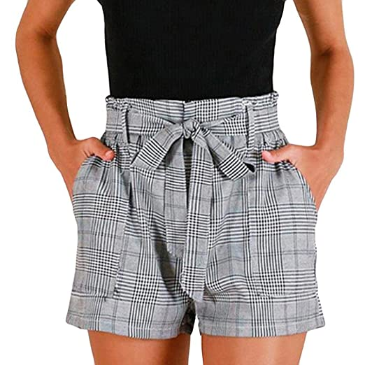583febc12b Women Summer Hot Pants, Fashion Casual Plaid Stripe Pocket Elastic High  Waist Shorts with Belt