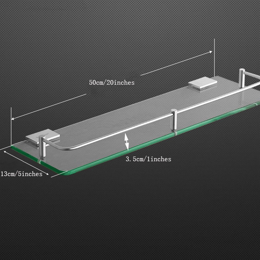 YXN Space Aluminum Bathroom Shelf Glass Shelf Bathroom Square Single Layer Metal Pendant Corner Dresser (Size : 50cm)
