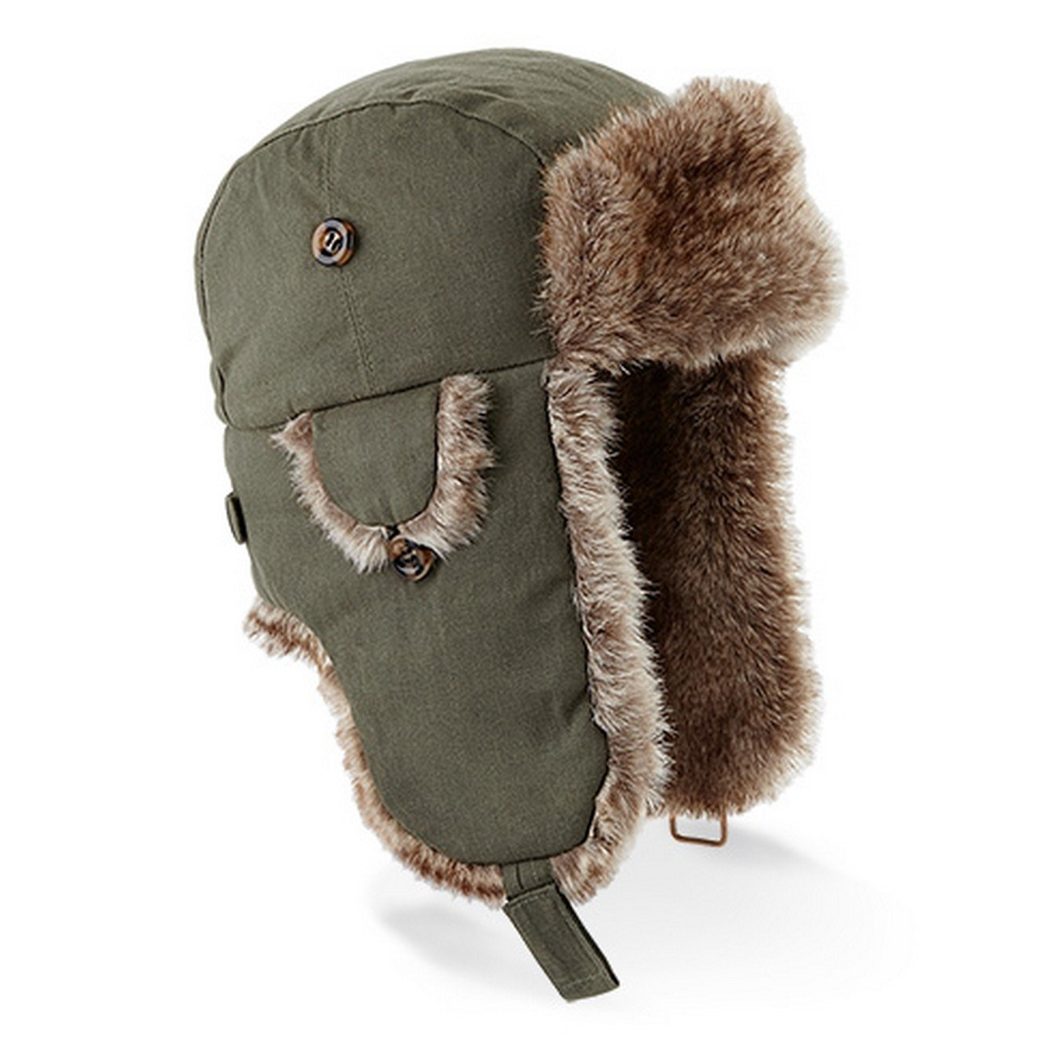 Beechfield Unisex Urban Winter Trapper Hat with Faux Fur Trim